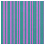 [ Thumbnail: Orchid & Teal Stripes Pattern Fabric ]