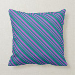 [ Thumbnail: Orchid & Teal Stripes Pattern Throw Pillow ]