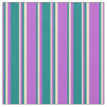 [ Thumbnail: Orchid, Teal & Tan Pattern of Stripes Fabric ]