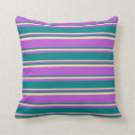 [ Thumbnail: Orchid, Teal & Tan Pattern of Stripes Throw Pillow ]