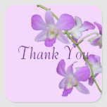 Orchid Thank You purple lavender Square Sticker