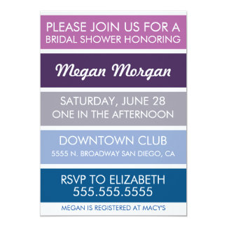 Orchid to Snorkel Blue Bridal Shower Invitation
