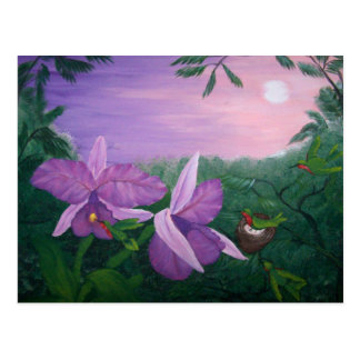 Orchid tropical world landscape - acrylic painting postcard