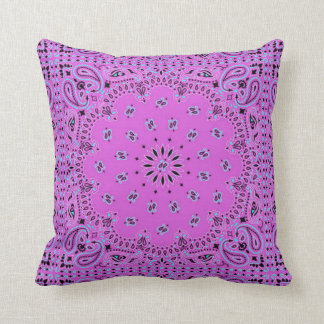 Orchid Turquoise Back Exotic Ethnic Paisley Print Throw Pillow