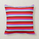[ Thumbnail: Orchid, Turquoise, Dark Red & Red Lines Pillow ]
