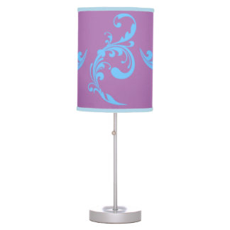 Orchid Violet and Soft Blue Swirls Lamp
