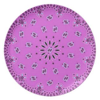 Orchid w/Blue Paisley Western Bandana Scarf Fabric Melamine Plate