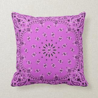Orchid w/Green Back Western Bandana Scarf Fabric Throw Pillow