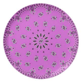 Orchid w/Grn Paisley Western Bandana Scarf Fabric Melamine Plate