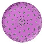 Orchid w/Grn Paisley Western Bandana Scarf Fabric Plate