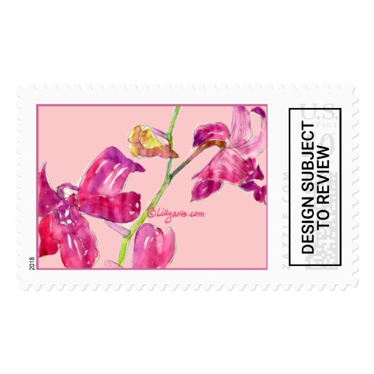 Orchid Wedding Postage Stamps