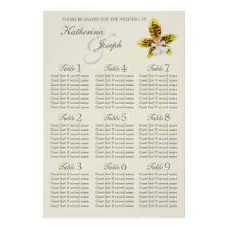 Orchid Wedding Seating Table Planner 1-9 Poster