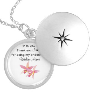 Orchid Wedding Souvenirs Keepsakes Giveaways Locket Necklace