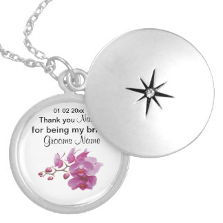 Orchid Wedding Souvenirs Keepsakes Giveaways Silver Plated Necklace