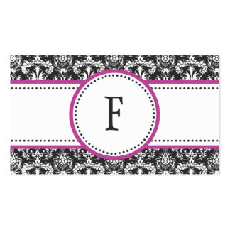 Orchid & White Classic Damask Mommy Calling / Business Card Templates
