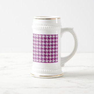 Orchid & White Knit Houndstooth Geometric Pattern Beer Stein