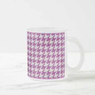 Orchid & White Knit Houndstooth Geometric Pattern Frosted Glass Coffee Mug