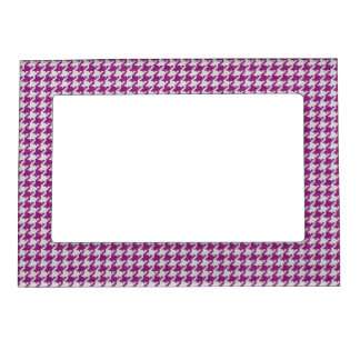 Orchid & White Knit Houndstooth Geometric Pattern Magnetic Frame