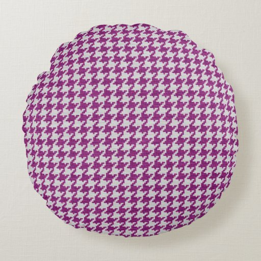 Orchid & White Knit Houndstooth Geometric Pattern Round Pillow Zazzle