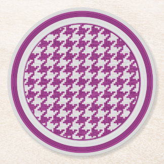 Orchid & White Knit Houndstooth Geometric Pattern Round Paper Coaster
