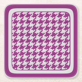 Orchid & White Knit Houndstooth Geometric Pattern Square Paper Coaster