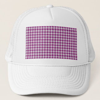 Orchid & White Knit Houndstooth Geometric Pattern Trucker Hat