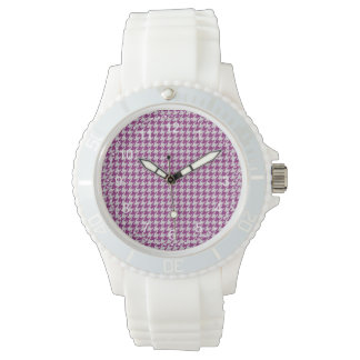 Orchid & White Knit Houndstooth Geometric Pattern Watches