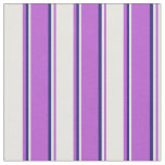 [ Thumbnail: Orchid, White & Midnight Blue Colored Lines Fabric ]