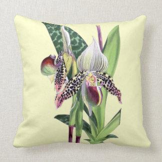 ORCHID (WILLIAM CURTIS Paphiopedilum Argus) Throw Pillows