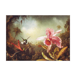 Orchid with Two Hummingbirds Canvas Print