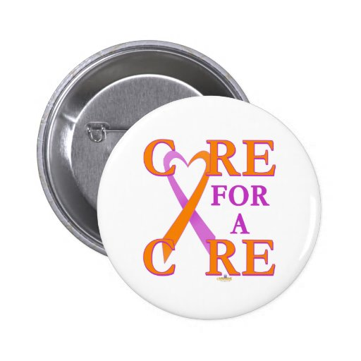 OrchidAndOrangeHeartRibbonCareCureLight 2 Inch Round Button
