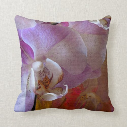 Orchidelia Gorgeous Orchids Abstract Throw Pillow