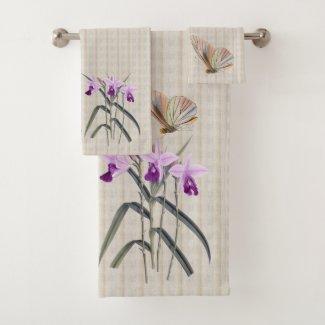 Orchids and Butterflies Bath Towel Set
