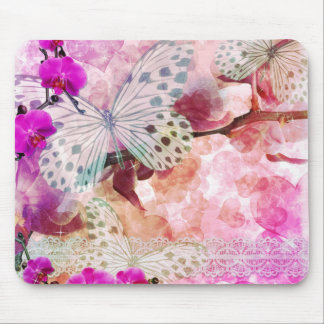 Orchids and Butterflies Mouse Pad