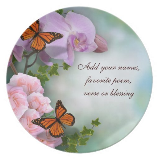 Orchids and butterflies Plate