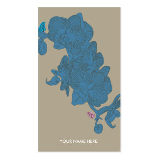 ORCHIDS AND BUTTERFLIES SAND BLUE Double-Sided STANDARD BUSINESS CARDS (Pack OF 100)