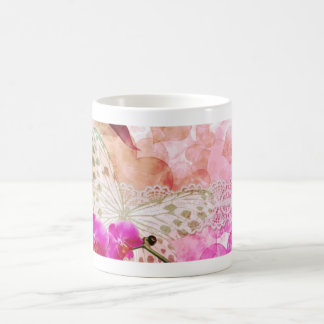 Orchids and Butterfly Basic White Mug