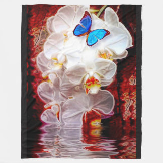Orchids and Butterflys Fleece Blanketthe