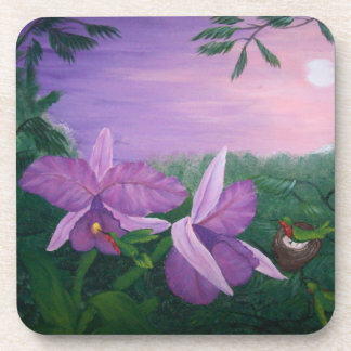 Orchid's and Hummingbirds - acrylic painting Drink Coaster