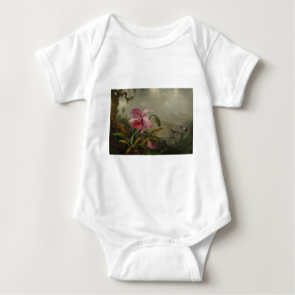 Orchids and Hummingbirds by Martin Johnson Heade Baby Bodysuit