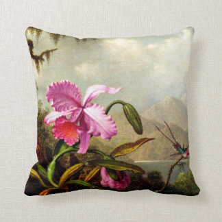 Orchids and Hummingbirds near a Mountain Lake Pillow