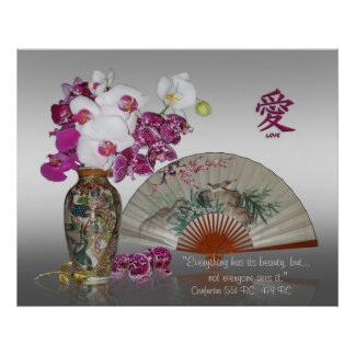 Orchids and Oriental painted fan, Confucius quote Poster