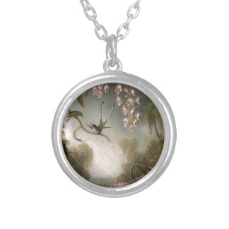 Orchids and Spray Orchids with Hummingbird by Mart Silver Plated Necklace