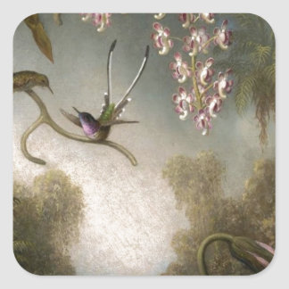 Orchids and Spray Orchids with Hummingbird by Mart Square Sticker