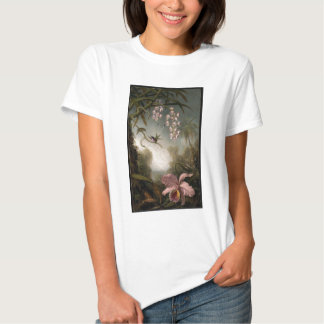 Orchids and Spray Orchids with Hummingbird by Mart T-Shirt