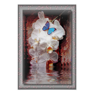 Orchids and the Butterfly in a Pearl Frame Poster