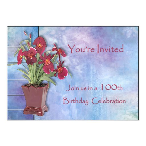 Orchids and Watercolor 100th Birthday 5x7 Paper Invitation Card