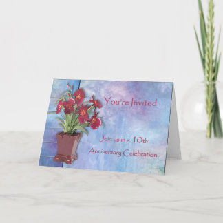 Orchids and Watercolor 10th Anniversary Card