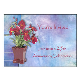 Orchids and Watercolor 25th Anniversary Personalized Invitation