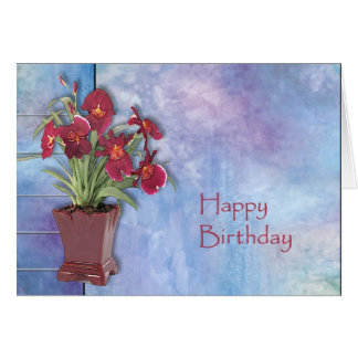 Orchids and Watercolor Greeting Card